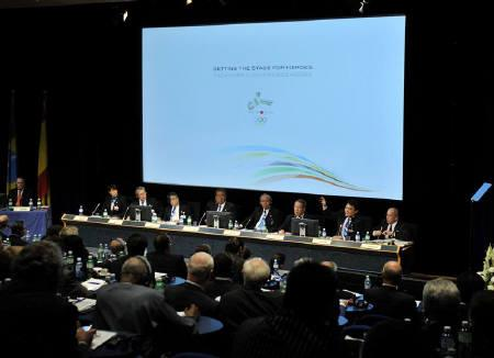 Tokyo 2016 Bid Committee members present their candidature to the International Olympic Committee (IOC) members during the second briefing for IOC members on the candidature for the 2016 Olympic Games at the Olympic museum in Lausanne June 17, 2009. REUTERS/POOL/Dominic Favre