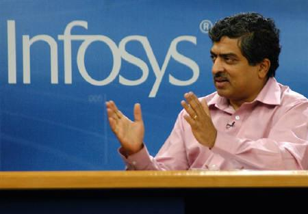 Infosys co-chairman Nandan Nilekani speaks to the media in Bangalore in this January 11, 2006 file photo. Nandan Nilekani, co-chairman of Infosys Technologies Ltd, India's No. 2 outsourcer, has resigned from the company's board to join the government, the company said on Thursday. REUTERS/Jagadeesh Nv