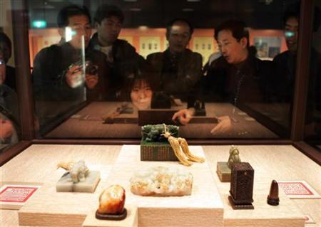 File image shows some samples of Chien Lung jade carvings at the National Palace Museum in Taipei. REUTERS/Richard Chung