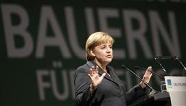 <p>Il cancelliere tedesco Angela Merkel durante un discorso a Stoccarda. REUTERS/Johannes Eisele (GERMANY POLITICS)</p>