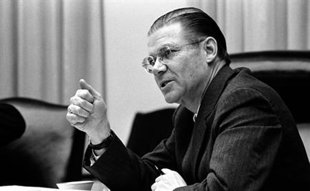 Defense Secretary Robert McNamara during a national security meeting on Vietnam at the White House, February 9, 1968. REUTERS/LBJ Library/Handout