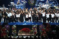 <p>Mais de 31 milhões de norte-americanos assistiram na TV, ao vivo, o memorial em homenagem a Michael Jackson, um número bem inferior às audiências do enterro do ex-presidente Ronald Reagan e do funeral da princesa Diana. REUTERS/Monica Almeida</p>