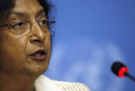 U.N. High Commissioner for Human Rights Navi Pillay addresses a news conference at the United Nations European headquarters in Geneva April 24, 2009. REUTERS/Denis Balibouse/Files