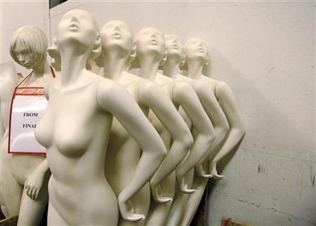 Mannequins wait for the next step in production at Fusion Specialties in Broomfield, Colorado April 28, 2009. REUTERS/Rick Wilking