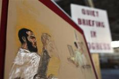<p>In this photo of a sketch by courtroom artist Janet Hamlin, reviewed by the U.S. military, a sketch of Canadian defendant Omar Khadr is pinned inside a hangar used by the media, following Omar Khadr's hearing in the U.S. war crimes commission at the Camp Justice compound, at Guantanamo Bay U.S. Naval Base, Cuba, June 1, 2009. REUTERS/Brennan Linsley/Pool</p>