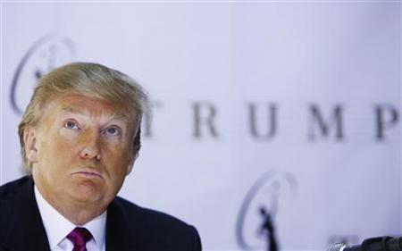 Donald Trump, the owner of the Miss Universe Organization, listens during a news conference announcing that Miss California USA, Carrie Prejean, would retain her title in New York May 12, 2009. REUTERS/Lucas Jackson