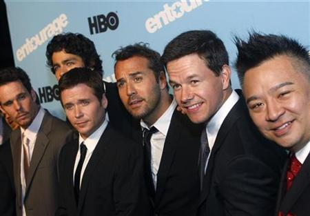 Cast members Kevin Dillon (L to R), Adrian Grenier, Kevin Connolly, Jeremy Piven, executive producer Mark Wahlberg and Rex Lee attend the premiere of the fifth season of ''Entourage'' presented by HBO at the Ziegfeld Theater in New York September 3, 2008. REUTERS/Joshua Lott
