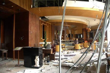 A view of the damage done to a restaurant in the Ritz-Carlton hotel after an explosion in Jakarta July 17, 2009. The bombers that attacked two luxury hotels in Indonesia's capital on Friday checked into one of their targets a couple of days before, posing as paying guests to crack tough security cordons usually in place. REUTERS/Handout