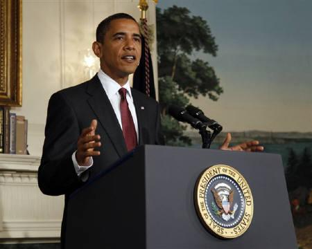 U.S. President Barack Obama delivers remarks on health care in the Diplomatic Reception Room of the White House in Washington July 17, 2009.  REUTERS/Jason Reed
