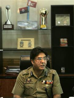 Director General of Jammu and Kashmir Police, Kuldeep Khuda, speaks during an interview with Reuters in Srinagar July 18, 2009. REUTERS/Danish Ismail