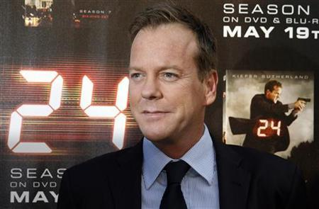 Cast member of ''24'' Keifer Sutherland poses at a screening of the season finale of Fox television drama series ''24'' season seven in Los Angeles, California May 12, 2009. REUTERS/Fred Prouser