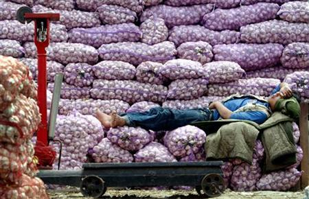 A Chinese garlic vendor sleeps on his produce as he waits for customers at an outdoor market in Beijing June 17, 2004. REUTERS/Guang Niu