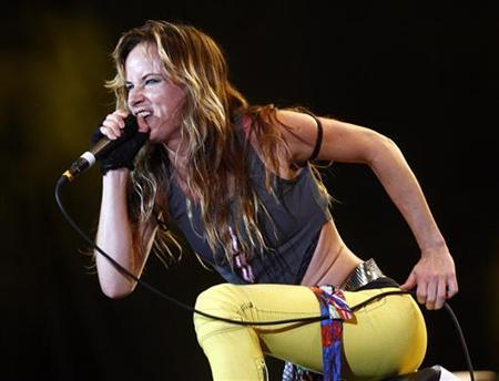 Actress and singer Juliette Lewis performs with her band at the time ''Juliette and the Licks'' during the Exit music festival in the northern Serbian town of Novi Sad July 12, 2008. REUTERS/Marko Djurica