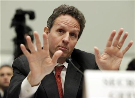 Treasury Secretary Timothy Geithner testifies before a House Financial services committee hearing on Regulatory Perspectives on the Obama Administration's Financial Regulatory Reform Proposals on Capitol Hill in Washington July 24, 2009. REUTERS/Yuri Gripas