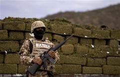 <p>A Marine stands guard in front of about 7,660kg of marijuana before its incineration at a naval base in Guaymas Mexican state of Sinaloa, July 9, 2008. REUTERS/Jorge Dan Lopez</p>