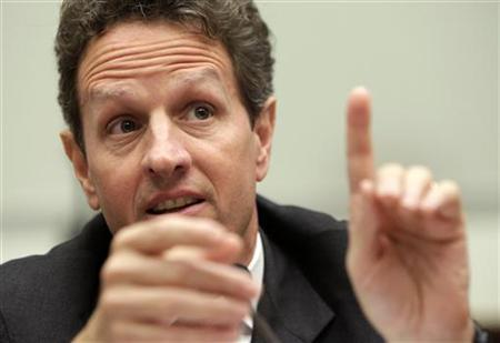 U.S. Treasury Secretary Timothy Geithner testifies before a House Financial services committee hearing on Regulatory Perspectives on the Obama Administration's Financial Regulatory Reform Proposals on Capitol Hill in Washington in this file photo from July 24, 2009. REUTERS/Yuri Gripas