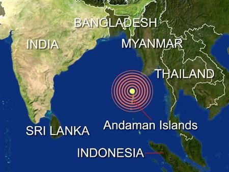 A massive magnitude 7.6 quake struck in the Indian Ocean off India's Andaman Islands, triggering a tsunami watch for India, Myanmar, Indonesia, Thailand and Bangladesh, the U.S. Geological Survey reported on Monday. REUTERS/Graphics