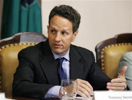 Treasury Secretary Timothy Geithner convenes the President's Working Group on Financial Markets at the Treasury Department in Washington June 25, 2009. REUTERS/Jose Luis Magana