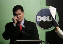 <p>Michael Dell, le patron du groupe du même nom. Dell a dévoilé une nouvelle gamme d'ordinateurs portables destinés aux enfants conçus en partenariat avec la chaîne de télévision spécialisée Nickelodeon, afin de renforcer son offre grand public. /Photo prise le 26 mars 2009/REUTERS/Jason Lee</p>