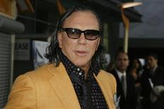 "<p>Actor Mickey Rourke, star of the film ""The Informers"", poses at the film's premiere in Hollywood, California April 16, 2009. REUTERS/Fred Prouser</p>"