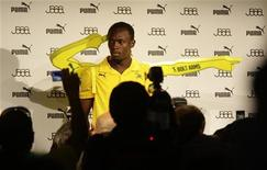 <p>Usain Bolt a Berlino durante una conferenza stampa. REUTERS/Tobias Schwarz (GERMANY SPORT ATHLETICS IMAGES OF THE DAY)</p>