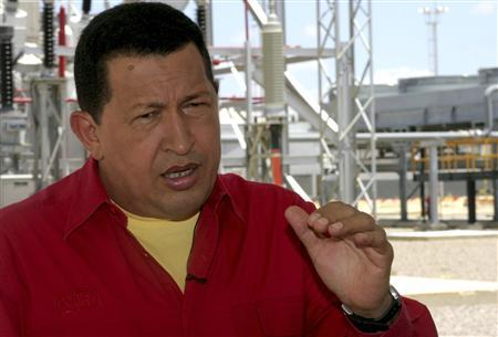 Venezuelan President Hugo Chavez talks during his weekly broadcast of 'Alo Presidente' at the thermoelectric plant, Josefa Camejo, in Punto Fijo August 16, 2009. REUTERS/Miraflores Palace/Handout