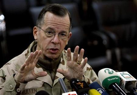 Chairman of the U.S. joint chiefs of staff, Admiral Mike Mullen, speaks during a news conference at Camp Eggers in Kabul December 20,2008. REUTERS/Omar Sobhani