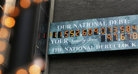 The National Debt Clock, which shows the U.S. national debt is seen in New York August 24, 2009. REUTERS/Shannon Stapleton