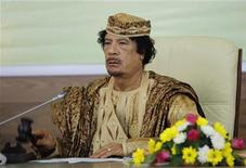 <p>Libya's leader Muammar Gaddafi attends the closing of the special summit on regional conflicts in Tripoli August 31, 2009. REUTERS/Ismail Zetouny</p>