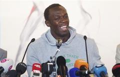 <p>Velocista jamaicano Usain Bolt concede entrevista coletiva em Bruxelas. O atual campeão mundial dos 100 e dos 200 metros rasos disse nesta quarta-feira que não se considera uma lenda ainda. REUTERS/Francois Lenoir</p>
