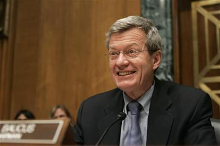 U.S. Senate Finance Committee Chairman Max Baucus (D-MT) addresses confirmation hearing for Ron Kirk to be U.S. trade representative before the U.S. Senate Finance Committee on Capitol Hill in Washington March 9, 2009. REUTERS/Hyungwon Kang/Files