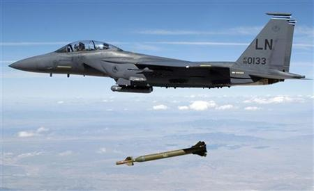 A U.S. Air Force F-15E Strike Eagle aircraft from the 492nd Fighter Squadron, Royal Air Force (RAF) Lakenheath, United Kingdom (UK) releases a GBU-28 ''Bunker Buster'' 5,000-pound Laser-Guided Bomb over the Utah Test and Training Range during a weapons evaluation test hosted by the 86th Fighter Weapons Squadron (FWS) from Eglin Air ForceBase, Florida, in this August 5, 2003 photograph, obtained by Reuters on August 2, 2009. REUTERS/Technical Sgt. Michael Ammons/USAF/Handout