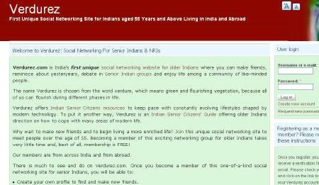Screenshot of Verdurez.com, a social networking website for Internet-savvy seniors in India who are battling loneliness and making new friends with the click of a mouse and in the comfort of their own homes. REUTERS/Screenshot/Verdurez.com