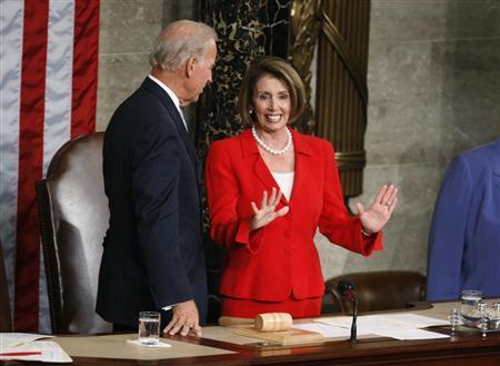 Vice President Joe Biden and House Speaker Nancy Pelosi (D-CA) talk before President Barack Obama's address to a Joint Session of Congress in Washington, September 9, 2009. REUTERS/Joshua Roberts