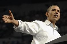 <p>U.S. President Barack Obama gestures during a rally for his health insurance reform initiatives at the Target Center in Minneapolis, Minnesota September 12, 2009. REUTERS/Jonathan Ernst</p>