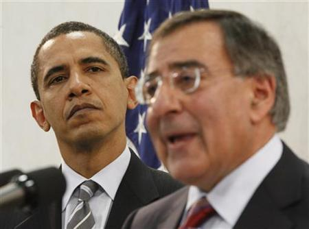 President Barack Obama is introduced by CIA Director Leon Panetta (R) during Obama's visit to the CIA headquarters in Langley, Virginia, April 20, 2009. REUTERS/Jason Reed