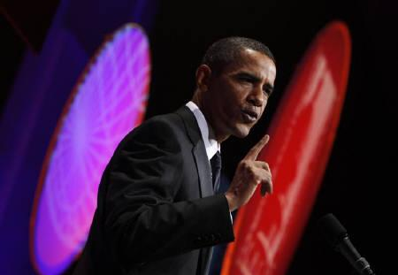 U.S. President Barack Obama delivers remarks at the Congressional Hispanic Caucus Institute's 32nd Annual Awards Gala at the Washington Convention Center in Washington September 16, 2009. REUTERS/Jim Young