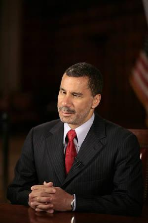 New York Governor David Paterson is seen before a televised address from the Red Room at the state capitol in Albany, New York July 8, 2009. REUTERS/Nathaniel Brooks/Pool/Files