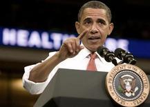 """<p>Президент США Барак Обама выступает с речью о реформах медицинского страхования в Университете Мэриленда 17 сентября 2009 года. Президент США Барак Обама в воскресенье обещал выступить с предложением принципиально новой программы обеспечения устойчивости мировой экономики на саммите """"Большой двадцатки"""" в Питсбурге. REUTERS/Larry Downing</p>"""