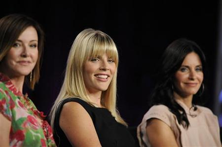 Cast members Christa Miller, Busy Philipps and Courteney Cox Arquette (L-R) listen to a question about the show ''Cougar Town'' during the Disney and ABC Television Group panels at the Television Critics Association summer press tour in Pasadena, California August 8, 2009. REUTERS/Phil McCarten