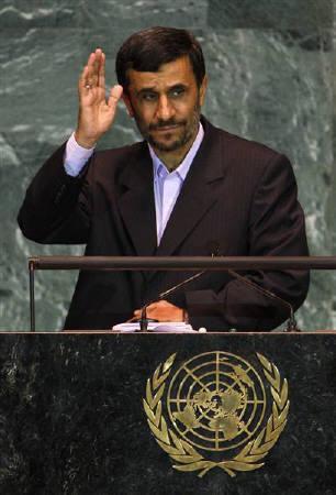 Iran's President Mahmoud Ahmadinejad at the U.N. headquarters in New York September 23, 2009. International Atomic Energy Agency may inspect Iran's newly revealed nuclear fuel facility, Iranian President Mahmoud Ahmadinejad said.   REUTERS/Mike Segar