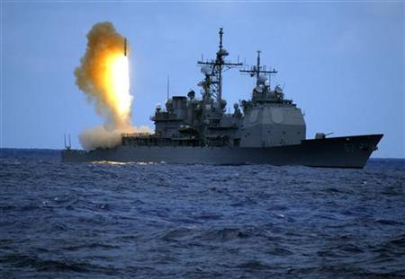 A Standard Missile Three (SM-3) is launched from the guided missile cruiser USS Shiloh (CG 67) during a joint U.S. Missile Defense Agency, U.S. Navy ballistic missile flight test in the Pacific Ocean, June 22, 2006. REUTERS/U.S. Navy/Handout