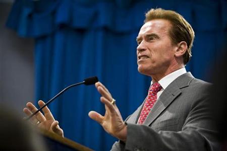 California Governor Arnold Schwarzenegger speaks during a news conference at the State Capitol in Sacramento, California July 1, 2009. REUTERS/Max Whittaker