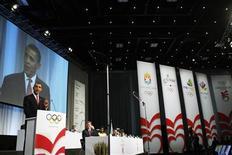<p>O presidente dos Estados Unidos, Barack Obama, fala em Copenhague durante a apresentação de Chicago para as Olimpíadas de 2016. Horas antes da votação desta sexta-feira que decidirá a sede dos Jogos Olímpicos de 2016, o prefeito do Rio de Janeiro, Eduardo Paes, alfinetou a chegada de última hora de Obama a Copenhague para defender a candidatura de Chicago.02/10/2009.REUTERS/Charles Dharapak/Pool</p>