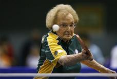 <p>Dorothy De Low, 99, from Australia participates in table tennis practice at the World Masters Games at Sydney Olympic Park October 15, 2009. REUTERS/World Masters Games/Craig Golding/Handout</p>