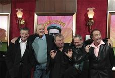 "<p>(L-R) The original cast of the Monty Python troupe Michael Palin, John Cleese, Terry Jones, Terry Gilliam and Eric Idle smile as they arrive at the premiere of the documentary ""Monty Python: Almost The Truth (Lawyer's Cut),"" celebrating the troupe's 40th anniversary, in New York, October 15, 2009. REUTERS/Lucas Jackson</p>"