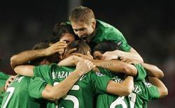 <p>Jogadores do Rubin Kazan comemora gol em vitória por 2 x 1 sobre o Barcelona. REUTERS/Albert Gea</p>