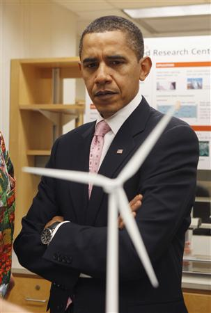 President Barack Obama looks at a model of a wind turbine during his visit to a research laboratory at the Massachusetts Institute of Technology (MIT) in Cambridge, Massachusetts, October 23, 2009. REUTERS/Jason Reed