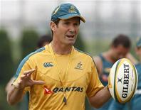 <p>Australia's Wallabies head coach Robbie Deans attends a practice session for their 2009 Bledisloe Cup rugby match against New Zealand's All Blacks in Tokyo on Saturday. The All Blacks won the game 32-19 to complete a 4-0 season whitewash over the Australians.</p>