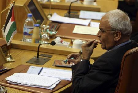 Palestinian negotiator Saeb Erekat in Cairo November 26, 2008. Palestinians may have to abandon the goal of an independent state if Israel continues to expand Jewish settlements and the United States does not stop it, chief Palestinian negotiator Saeb Erekat said on Wednesday. REUTERS/Amr Dalsh/Files